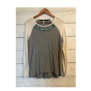 Kensie Jeweled Top Grey/Cream Size Small